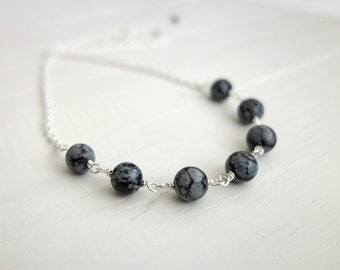 Snowflake obsidian necklace black grey stone necklace minimalist chain necklace for women