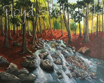 "Original Fine Art Painting by ALAN FLOYD - Acrylic on Canvas - 22 x 28"" - Forest Stream"