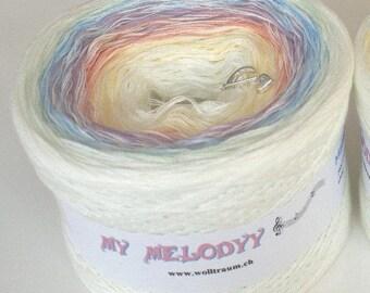 Mamma Mia - Rainbow Gradient Yarn - White Yarn Rainbow - My Melodyy by Wolltraum - Pastel Yarn - Ombré Yarn - Baby Blanket Yarn - Cotton Mix