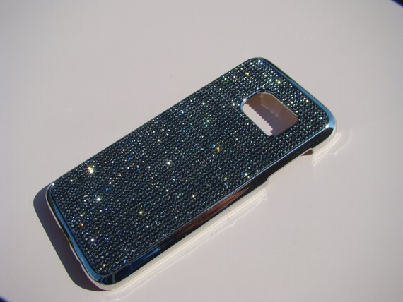 Galaxy S7 Case Black Diamond Rhinestone Crystals on Silver Chrome Case. Velvet/Silk Pouch Bag Included, Genuine Rangsee Crystal Cases
