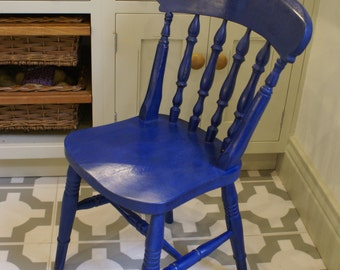 Vintage hand painted spindle back farmhouse chairs Napoleonic Blue (custom colour available)