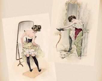Kirchner Lady In Black Stockings 2 New 4x6 Vintage Image Photo Prints RA51 RA24
