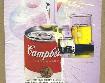 Soup Mix - handmade collage including vintage book page (The Best Plays of 1946-47)