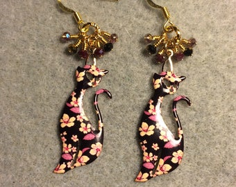 Rose, pink, and black flowered enamel cat charm earrings adorned with tiny dangling rose and black Chinese crystal beads.