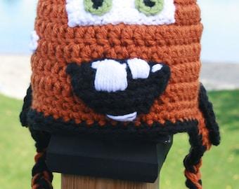 Tow Mater Inspired Hat Crochet Pattern - Newborn - Toddler - Child - Adult