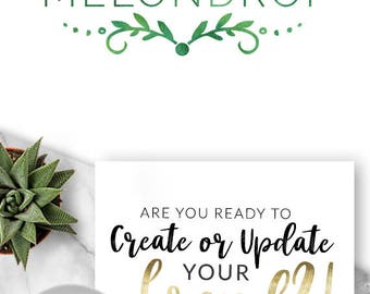 220 - MelonDrop, LOGO Premade Logo Design, Branding, Blog Header, Blog Title, Business, Custom, Modern, Green, Leaf, Detail, Detailed