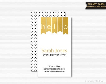 Black Gold Business Cards Printable DIY Stationery Calling Cards Mommy Cards Gold Foil Printable Business Cards Double-Sided
