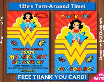 Wonder Woman Birthday Invitation with FREE Thank you card, Wonder Woman Invitation