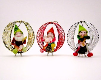 Vintage Elf Gnome On A Pinecone Wire Wrapped Christmas Ornaments German Holiday Decorations