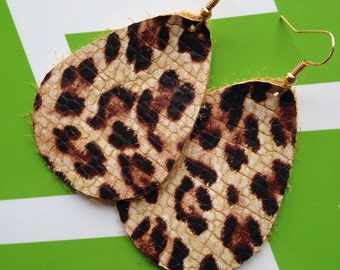 Rupert and Stella Leather Earrings - Leopardess