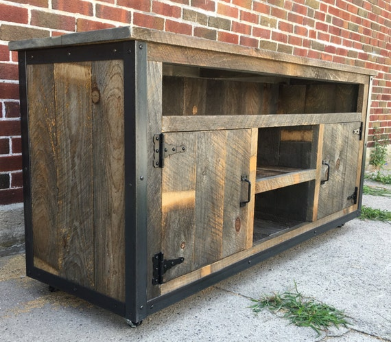Tv Board Industrial rustic industrial weathered barn board entertainment center tv