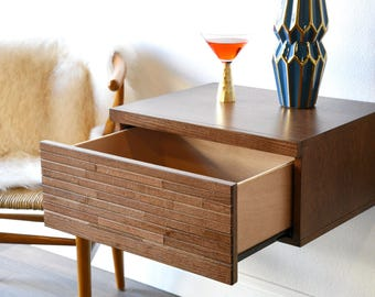 Wall Mounted Drawer Floating Mid Century Modern Nightstand - Mayan Mocha