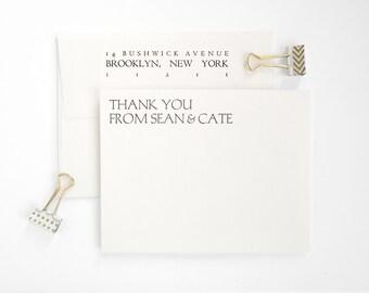 Letterpress Thank You Cards - Modern Flat Notes - Wedding and Bulk Order