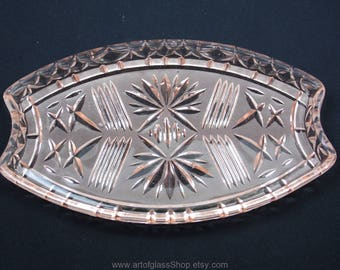 Vintage pink pressed glass dressing table tray