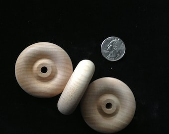 """Wood wheels, 2"""" diameter, 1/4"""" hole, 5/8""""  thick, flat back, 46 available, sold in sets of 8"""