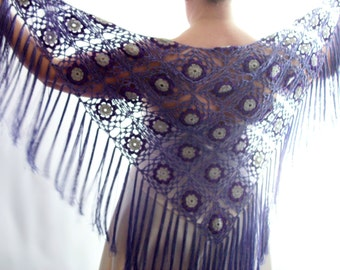 Lilac Shawl, Crochet Shawl, Lace Shawl, Bridal Shawl, Wool free, Wedding Shawl, Evening Shawl, Gift for Her, Fringed Shawl, Mothers Day Gift