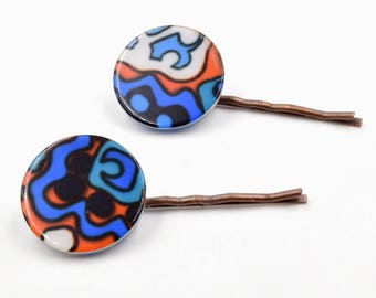 Blue and orange hair pins,  turquoise bobby pins, vintage lucite earrings, abstract art, copper bronze kirby grips, hair clips, hair forks