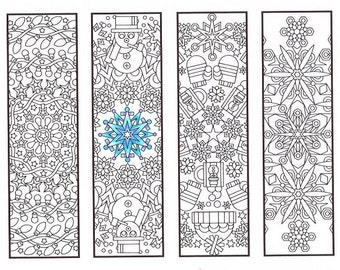 Christmas Coloring Bookmarks - Winter Mandalas - coloring for adults, big kids and your resident bookworm - adult coloring page