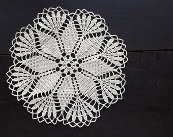 Beige Handmade Crochet Doily No.71 • Crocheted Doily • Round •Decoration • Home Decor