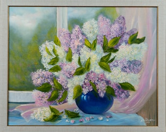 Bouquet for the beloved oil painting on canvas lilac