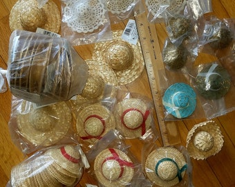 LoT 58 Miniature Doll Hats_Straw Hats for Dolls or Wreath Decor