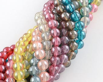 6mm Transparent Spray Painted Glass Bead Strand (B269b)