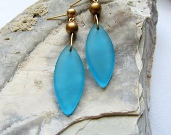 Turquoise Blue Sea Glass Teardrop Earrings on Matte Gold Posts - Gold and Blue Drop Earrings - Golden Waves