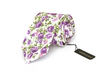 Mens Necktie Lilac purple floral mens Tie Men's tie Wedding Ties Necktie for Men 247tc GIFT BOX wedding ties