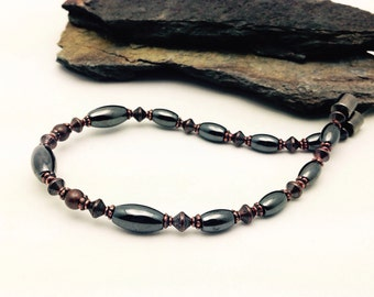 Solid Copper & Black Hematite Magnetic Therapy Bracelet magnet CLASP  Wellness Health