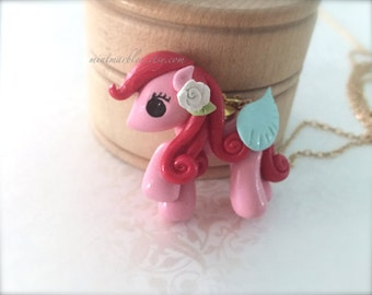 Pink Baby Pony Necklace. Polymer Clay Cute Necklace. Red Hair. Flower. Winged Horse. Pegasus. Kawaii. Adorable. Under 20. Gold Chain. Gift.