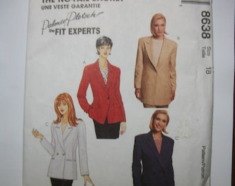 McCall 8638 Misses Size 18 No-Fail Lined Jacket.  Petite-Miss business able.  Palmer Pletsch the fit experts