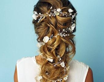 Flower Bridal Hair vine, Bridal Hair Vine, Crystals Bridal Wedding, Hair vine wedding, Bridal Hair vine, Pearl Hair vine, Bridal hair piece