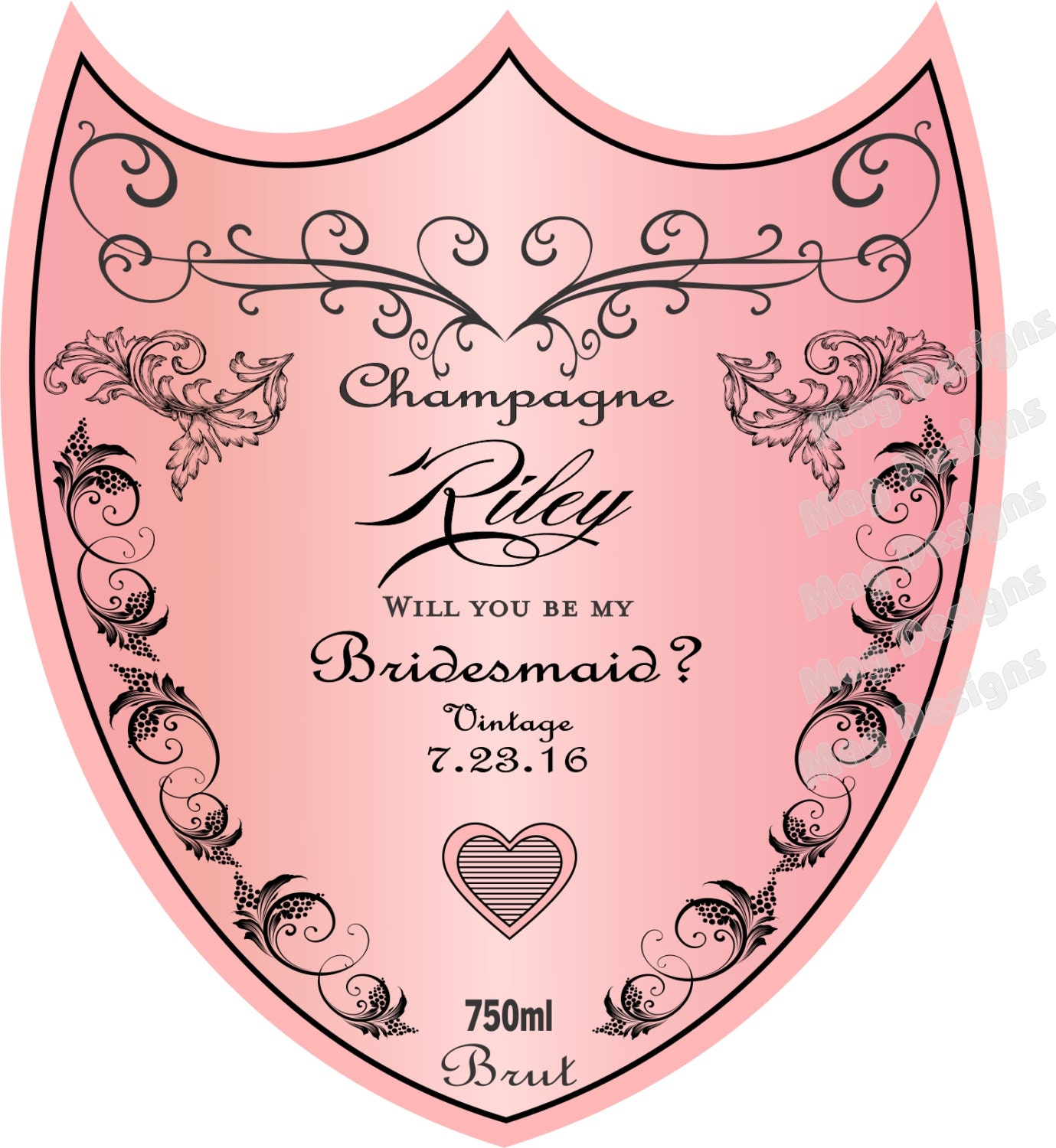 Will You Be My Bridesmaid Labels Personalized Wedding