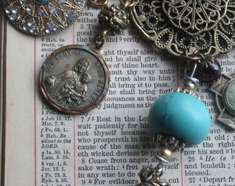 Antique medals necklace, Religious assemblage necklace, Holy medal necklace, Eclectic, Reliquary, Vintage medal assemblage jewelry,