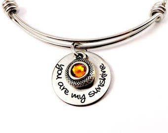 You Are My Sunshine Bangle Bracelet Necklace or Keychain - Mother's Day Father's Day