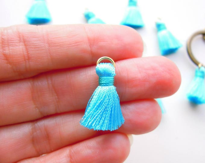 10 Turquoise jewellery tassels, Small teal jewelry tassels with gold jump ring, Turquoise mini tassels, Small boho mini tassels.