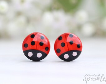 Ladybug earrings, Ladybug studs, Little girl gift ladybug, Daughter Gift, Minimal red studs, Ladybug lover, Titanium posts, Kids earrings