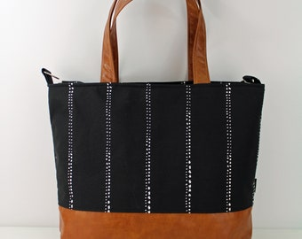 Extra Large Lulu Tote Overnight  Diaper Bag Carlo Black and PU Leather - READY to SHIP Zipper Closure