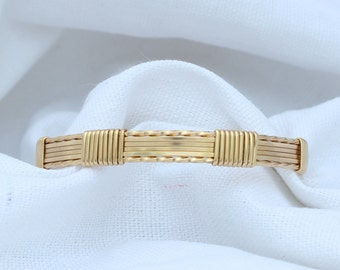 Wire Wrapped Gold Bangle
