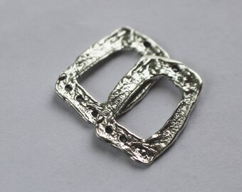 Rectangle Earring Components Sterling Silver Artisan TWO 002/EC10
