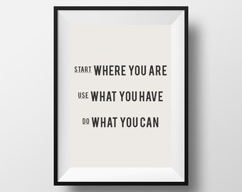 Start where you are, inspirational quote, motivational quote, quote, poster, instant download, printable typography, wall decor, download