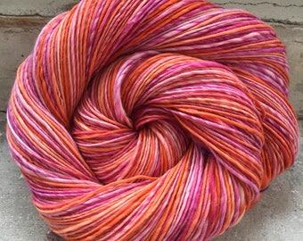 Red Sky - Handspun Handdyed Merino Yarn, Handmade Yarn, Single Singleply Yarn