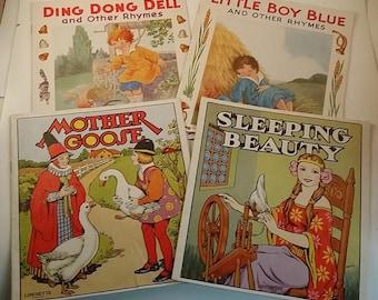 4 Vintage Children's Books -- Sam'l Gabriel Linenette Books - Ding Dong Bell, Mother Goose, Sleeping Beauty, Little Boy Blue, Nursery Rhymes