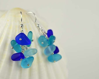 Sterling silver Blue sea glass earrings sea glass jewelry cobalt blue aqua blue beach glass jewelry beach wedding bridesmaids jewelry gifts