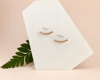 Minimalist ROSE GOLD Ear Jackets + SILVER Studs. Front Back Curved Bar Rose Gold Earrings. Minimal Double Sided Gold Earrings+ silver studs.