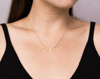 Gold Triangle Necklace / Five Triangle Necklace / Triangle Statement Necklace / Bridesmaid Necklace