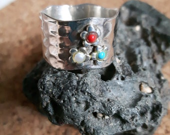 Red Coral, Pearl, and sleeping Beauty Turquoise Silver Band Size 7-7.5 US