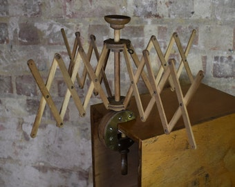 Antique Wooden Wool Winder Skein Holder St Bernard Brass Edged Clamp