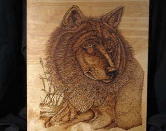 Pyrography, hand made, one of a kind wolf portrait
