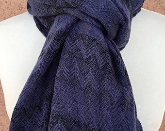 Blue and Black Scarf / Chevron Shawl Scarf / Gift Ideas / Gift for Her.